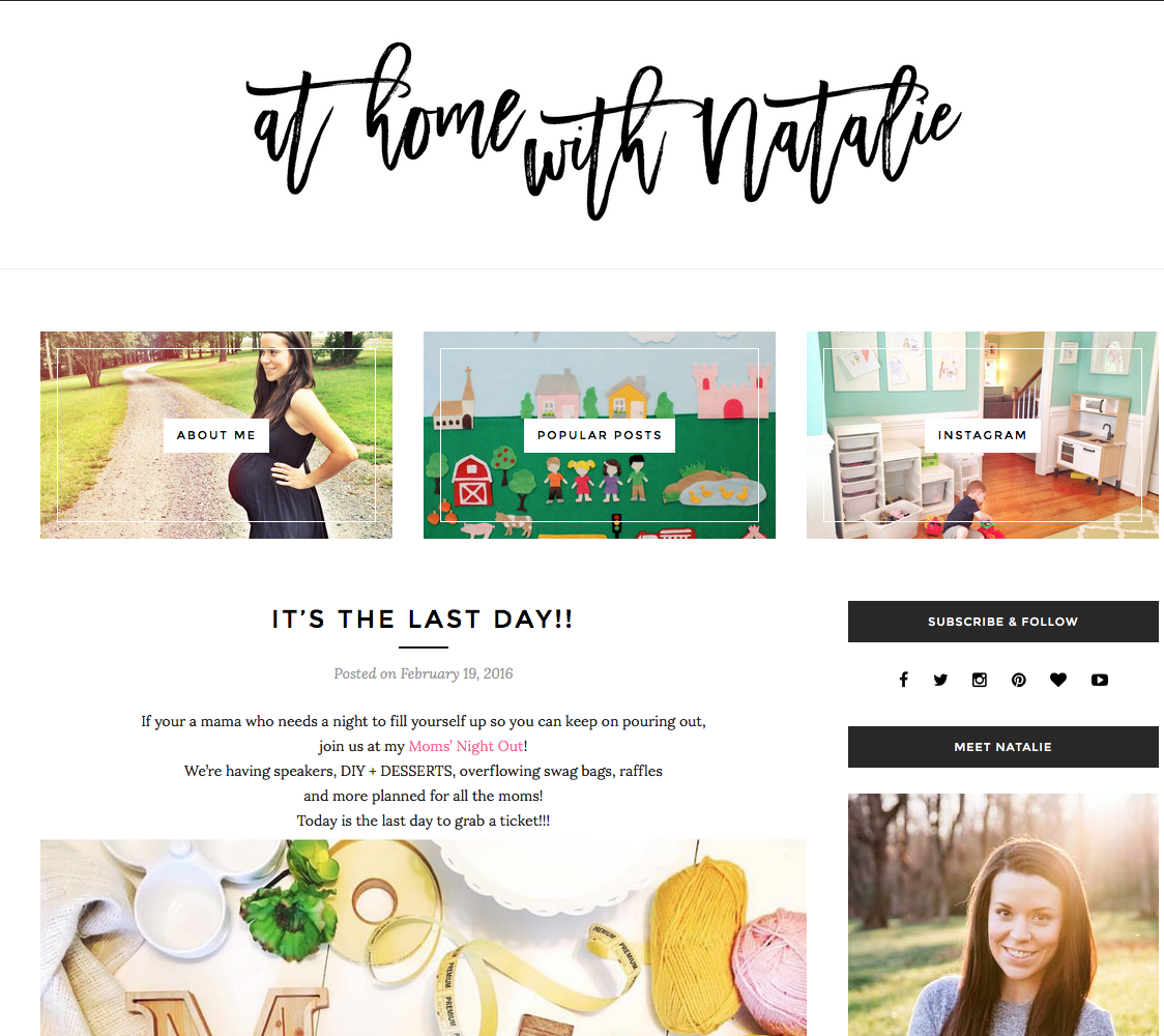 Media kit exemple At home with Natalie