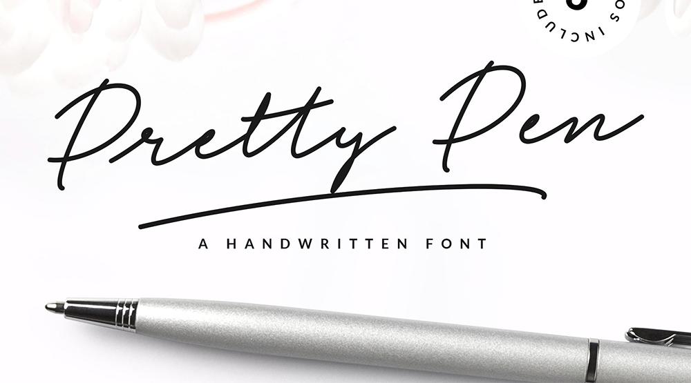 Pretty pen handgeschreven lettertype | trendbubbles.nl
