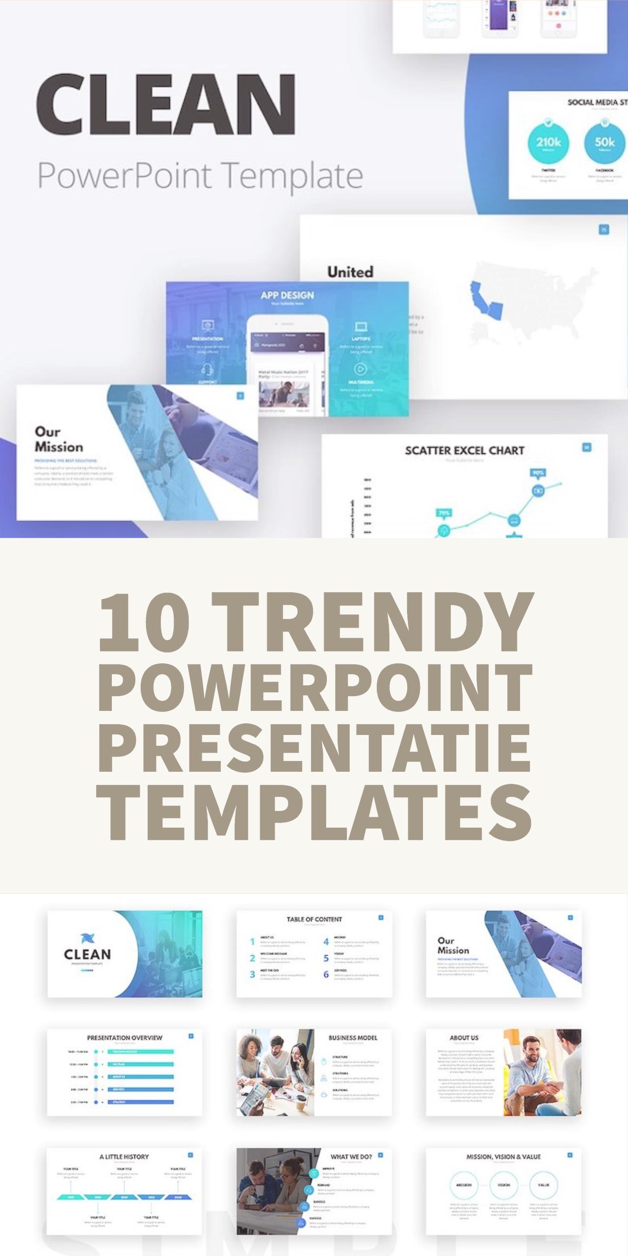 10 trendy PowerPoint presentatie templates