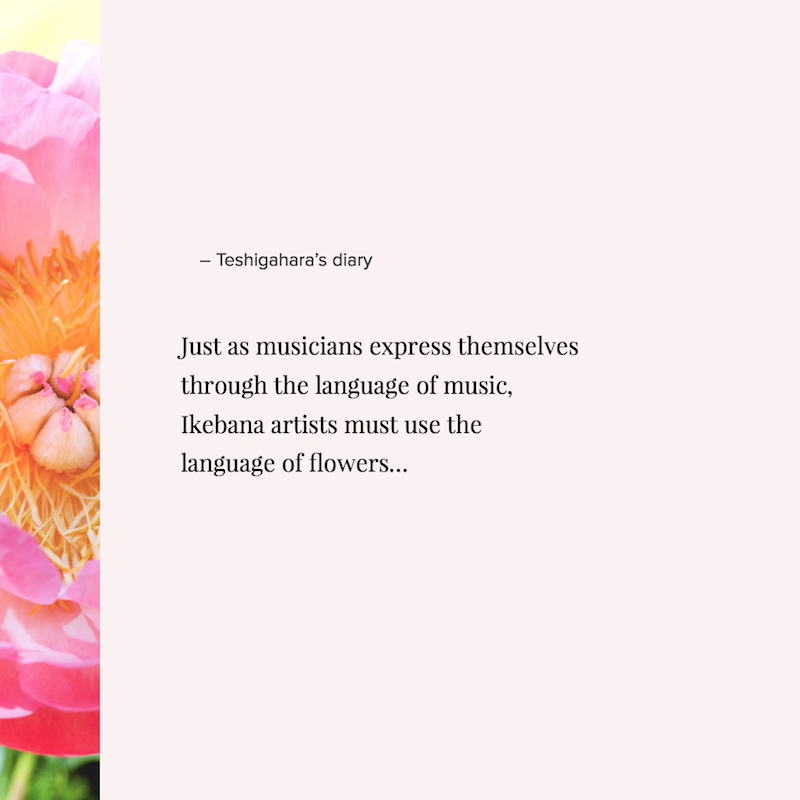 Just as musicians express themselves through the language of music, Ikebana artists must use the language of flowers....