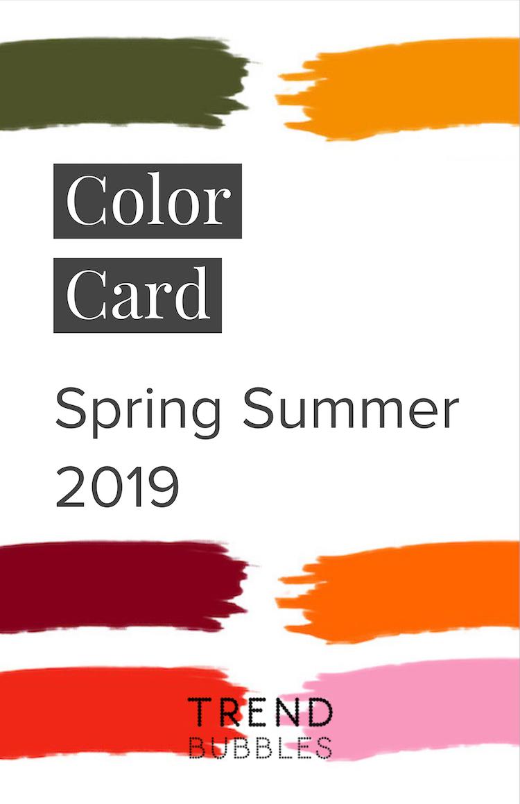 Pantone color card Spring Summer 2019